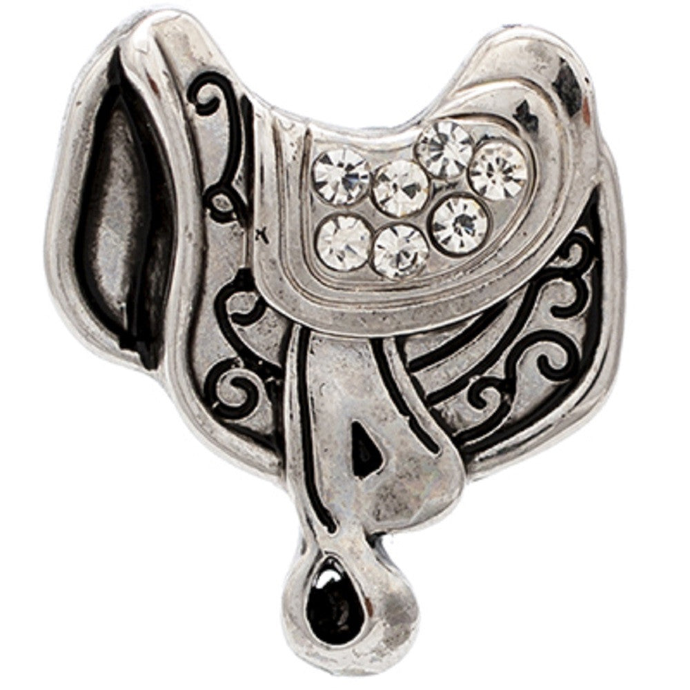 Body Accentz Silver Horse Saddle 18mm Snap Charms Buttons Interchangeable Jewelry Ginger Cowboy
