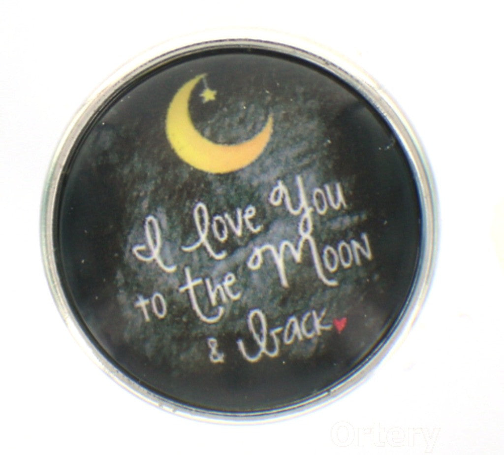 Snap glass  button charms  Jewelry I Love you to the moon and back