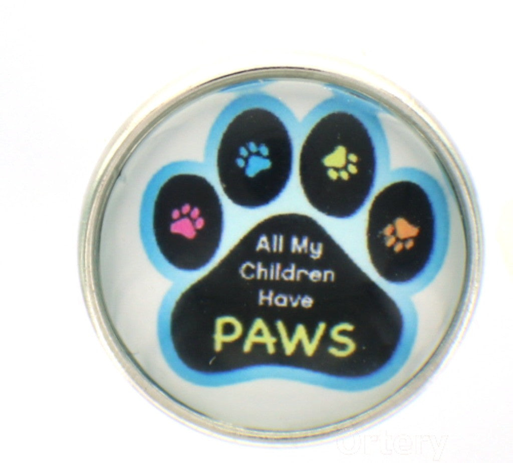 Snap glass  button charms  Jewelry All my Children have paws