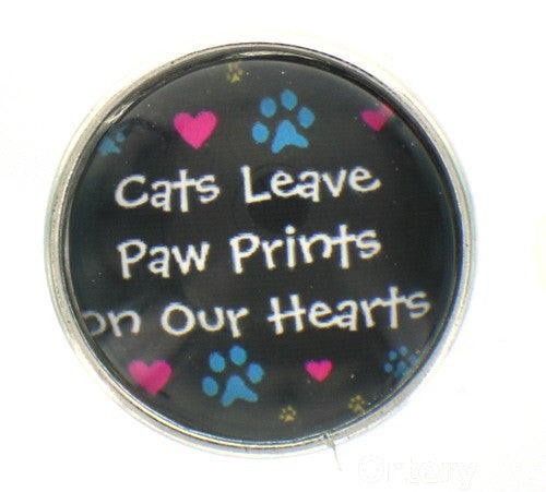 Snap glass  button charms  Jewelry Cats leave pawprints on our heart
