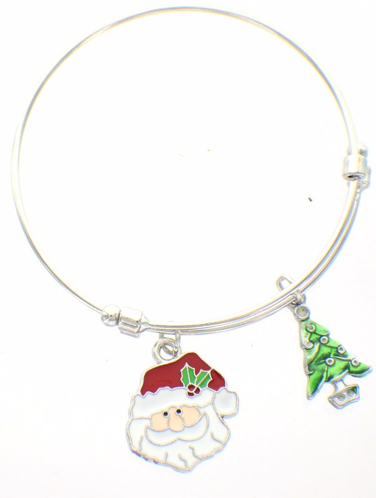 Expandable Bangle Bracelet  Christmas Holiday Christmas Tree Santa Claus