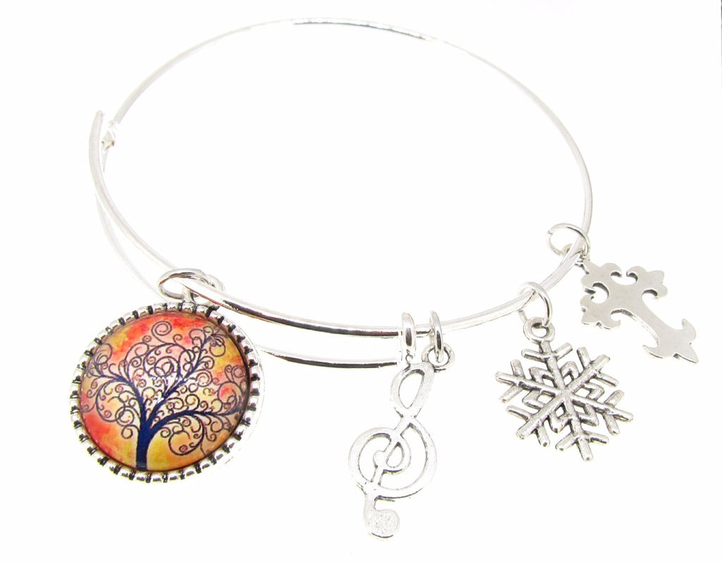 Tree of Life Bracelet Silver Plate Expandable Bangle Music Note Snowflake Cross
