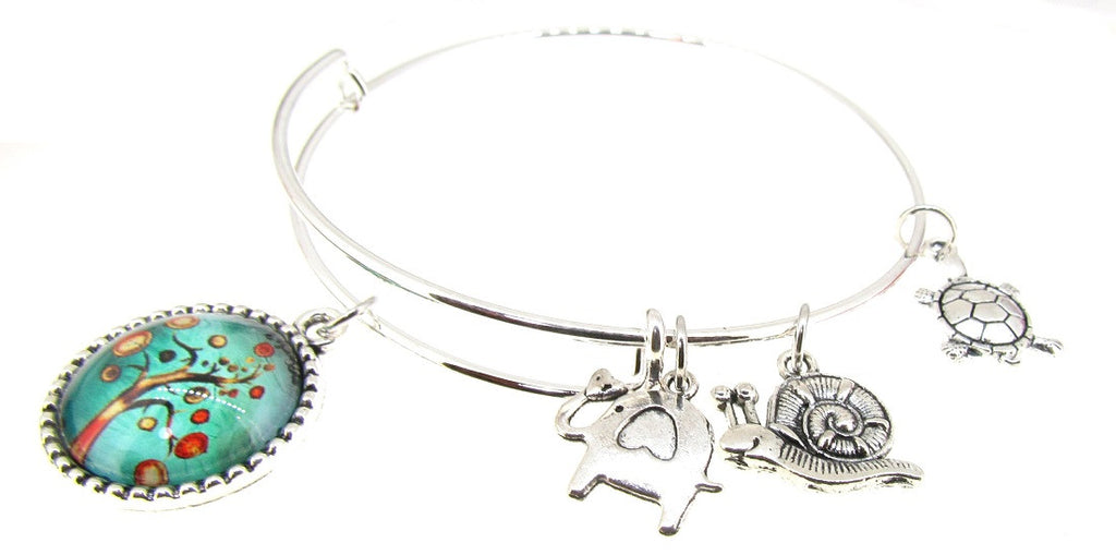 Tree of Life Bracelet Silver Expandable Bangle Elephant Turtle Snail