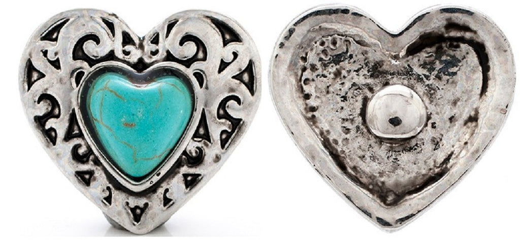 Fashion Snap Button For  Findings Turquoise Heart Snaps American Cowboy 18mm