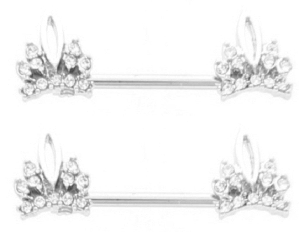 Nipple Ring Bars CZ crystal  Tiara Crown Jewelry Pair 14g Body Accentz