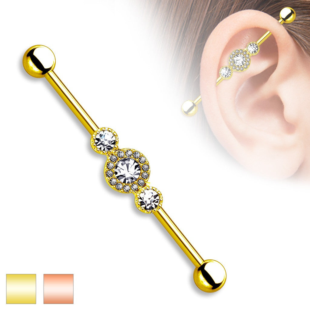 Industrial Barbell CZ Centered Paved Circle Gold Plated  316L Surgical Steel 1 1/2