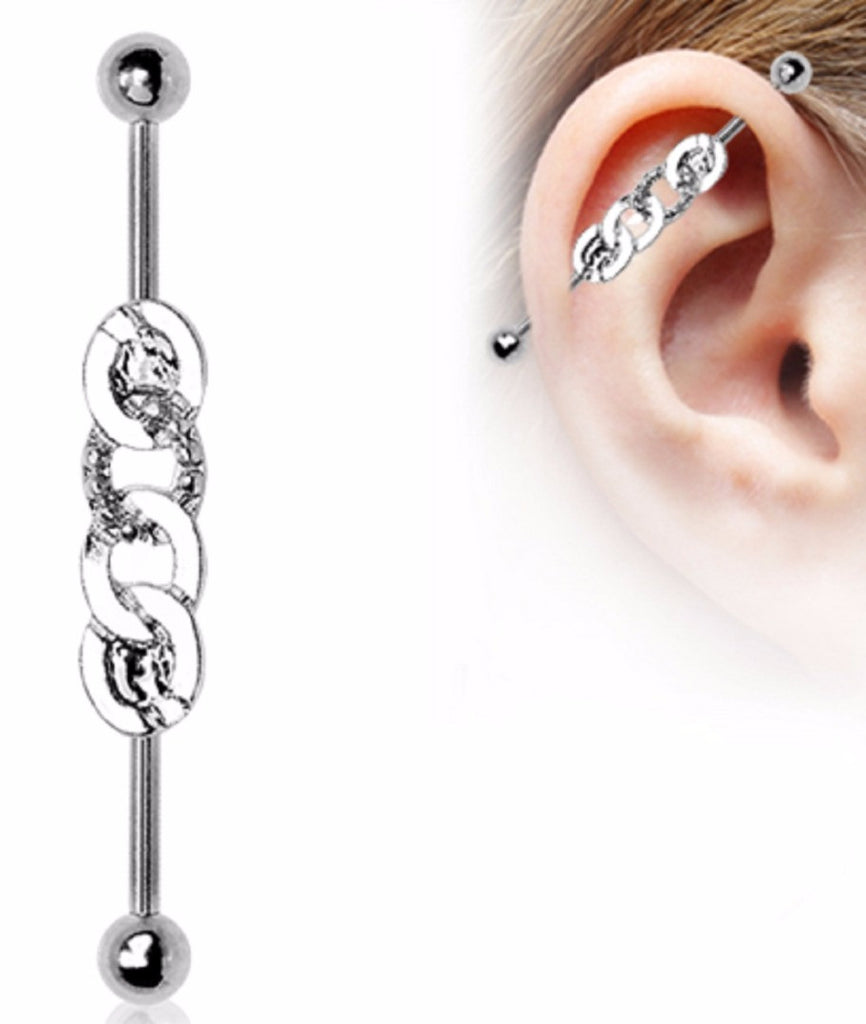 Industrial Barbell CZ 316L Stainless Steel 4 interlocking hoops 1 1/2