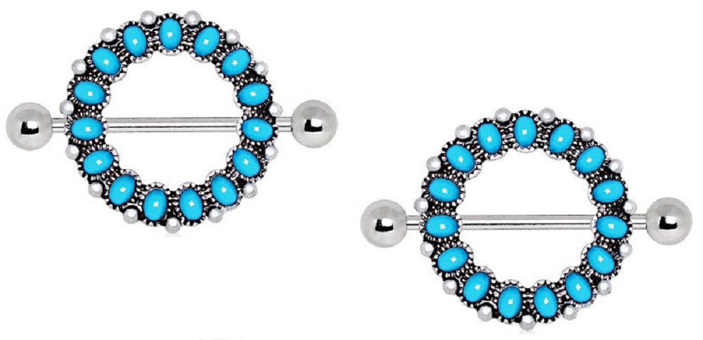 Nipple Rings Circle of  love Antique Turquoise Nipple Shield Bar Pair