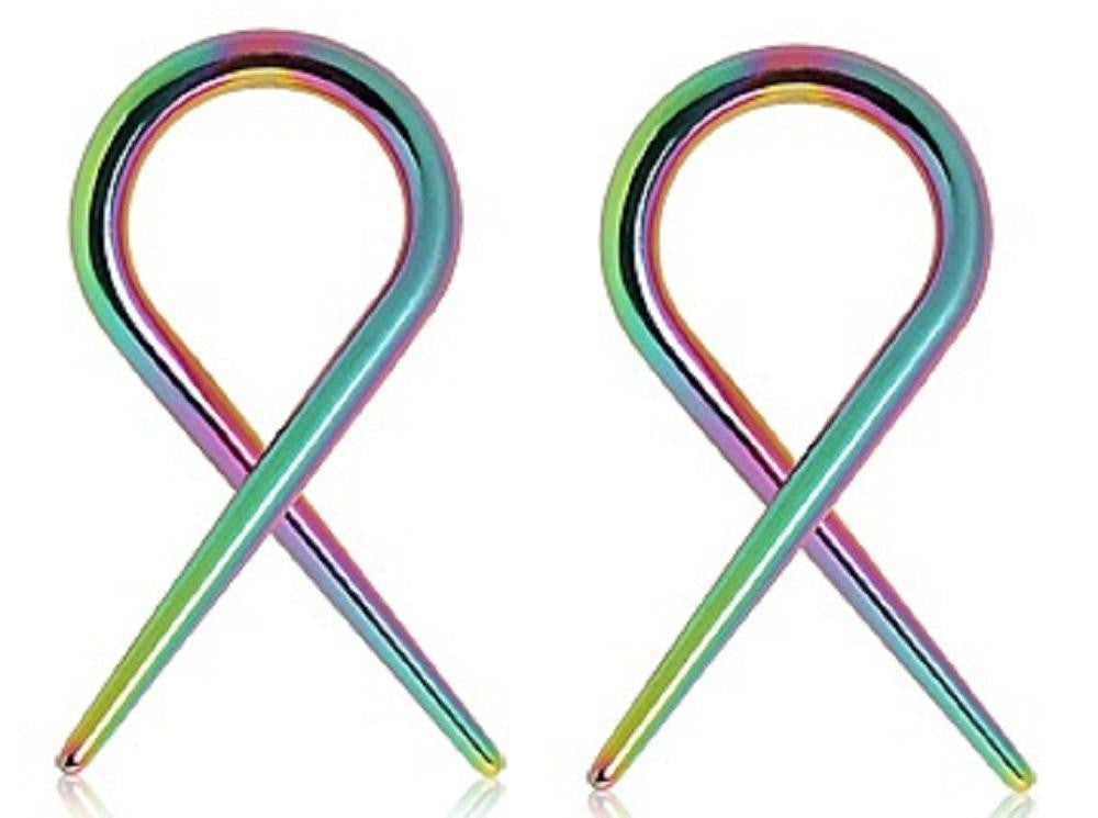 Earrings Rings 316l Surgical Steel Swirl Twist Tapers - Sold As a Pair 14g Rainbow