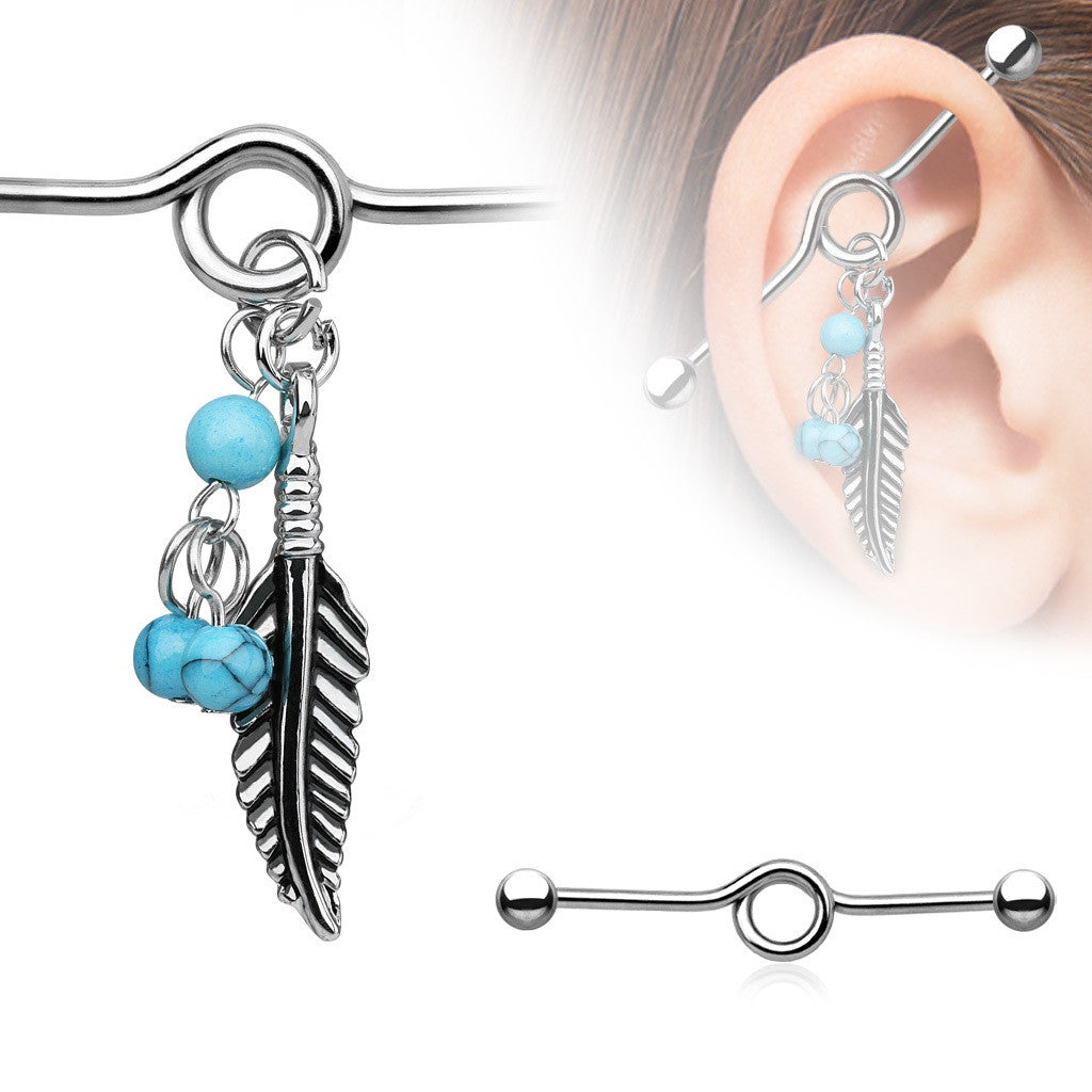 Industrial Barbell Turquoise Beads Tribal Feather Dangle 316L