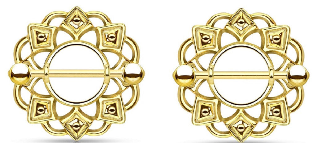 Nipple Rings Tribal Shield 316L Surgical Steel Barbell Golden Sold as a pair