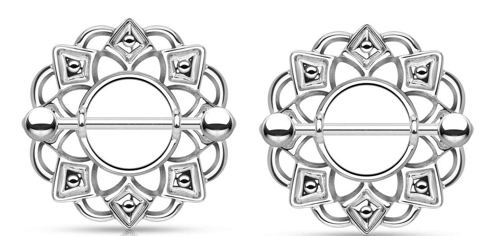 Nipple Rings Tribal Shield 316L Surgical Steel Barbell   Sold as a pair