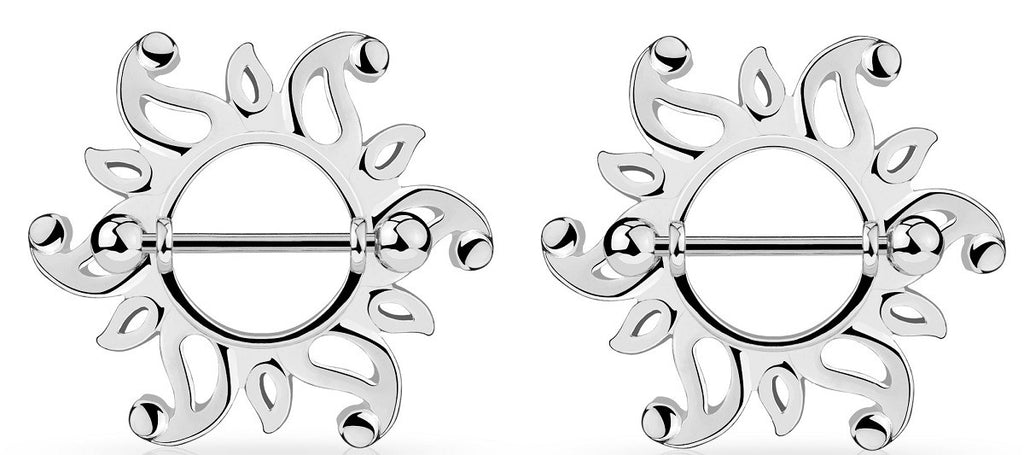 Nipple Rings Swirling Sunburst Tribal 316L Steel Barbell  Sold as a pair