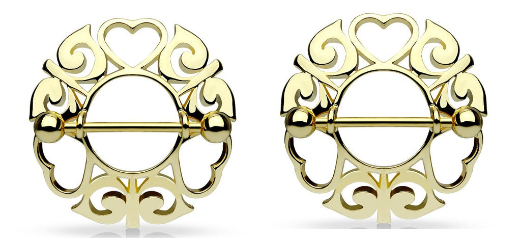 Nipple Rings Swirling Heart Tribal 316L Steel Barbell  Sold as a pair