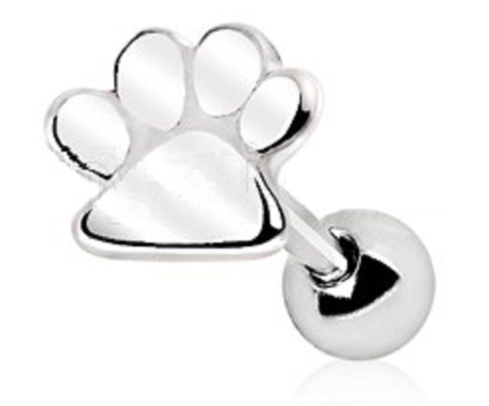 Tragus Piercing 316L Stainless Steel Puppy Paw Print Cartilage Earring Cartilage