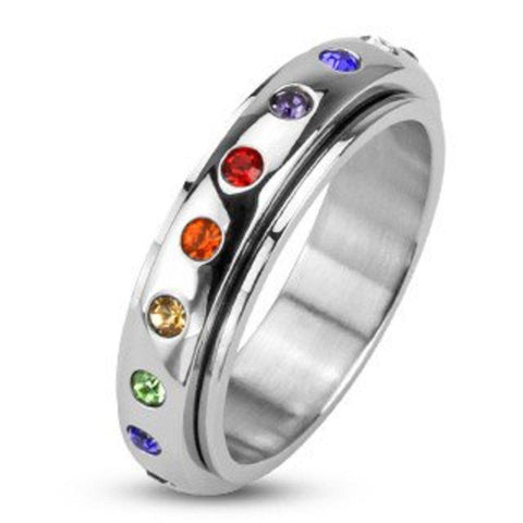 316L Stainless Steel Mirror Polished Spinner Ring with Rainbow Color Gems Band