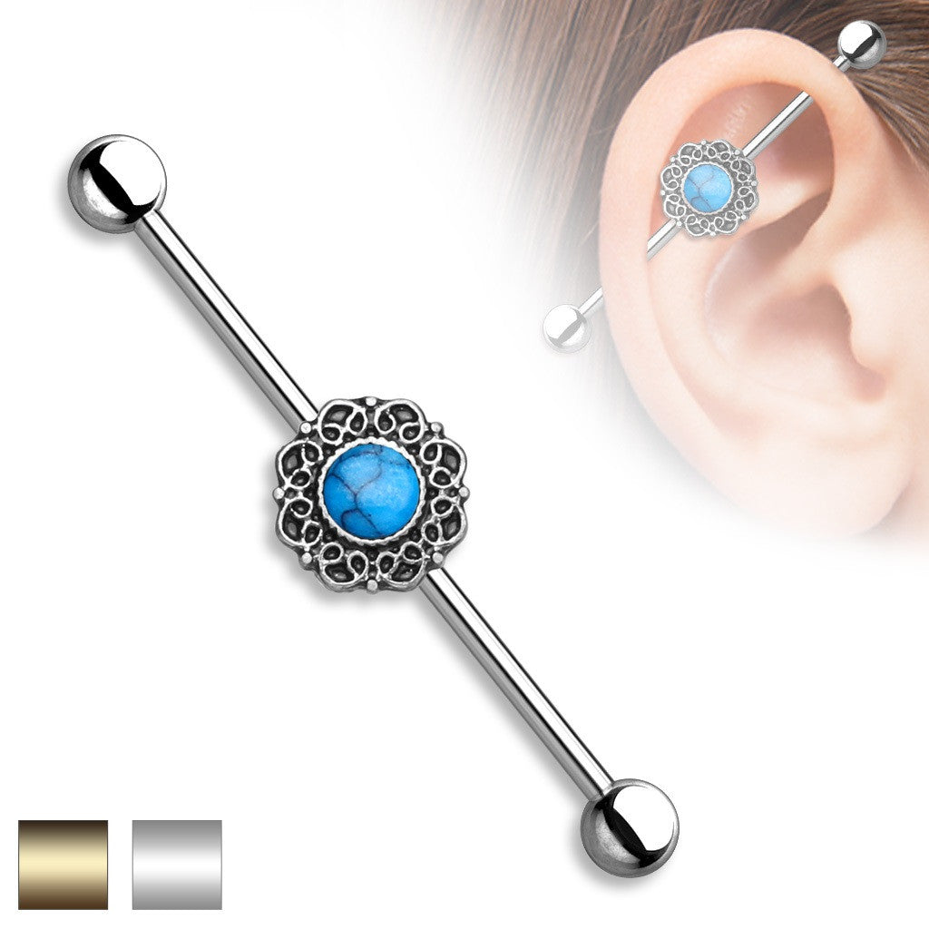 Industrial Barbell Turquoise Centered Heart Filigree 316L Surgical Steel 1 1/2
