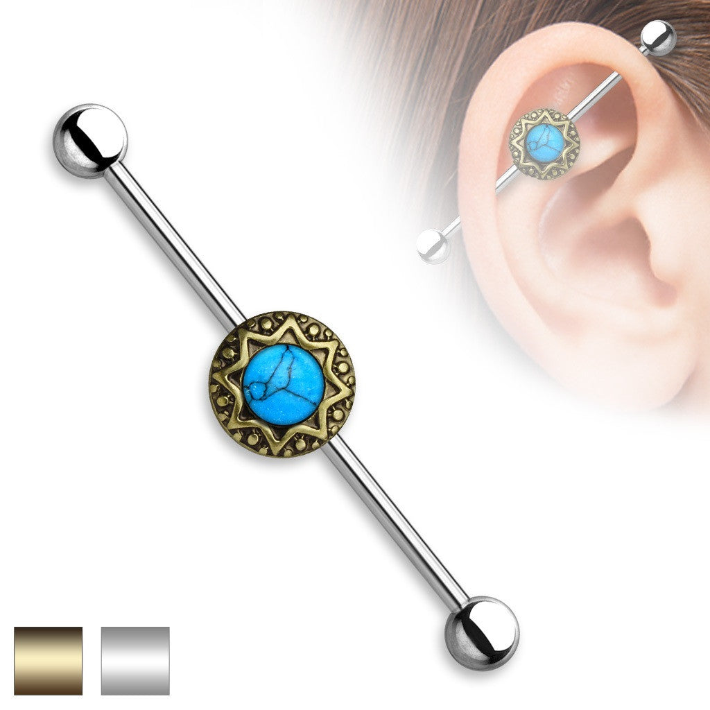 Industrial Barbell Turquoise Centered Round Tribal Starburst 1 1/2 14g