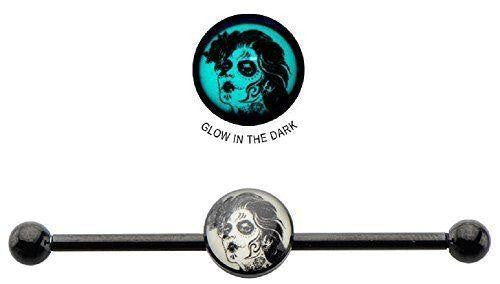 Industrial bar Surgical 14g 1 3/8 8mm Glow In the Dark Dead Maiden Logo  Barbell