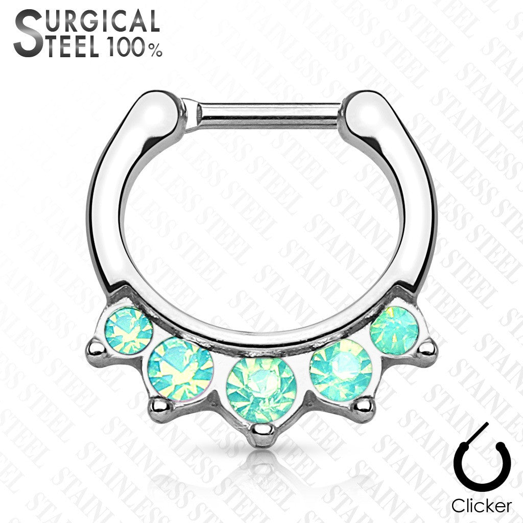 Five Opalite Hanging Set 100% Surgical Steel Septum Clickers 16g