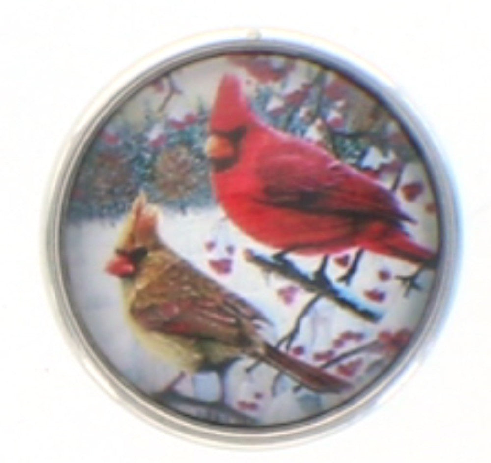 Snap button Cardinal  Interchangable Jewelry  18mm