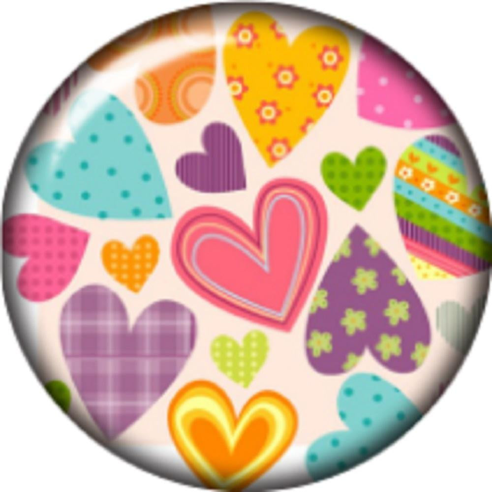 Snap button Domed Patchwork Heart Interchangable Jewelry  12mm
