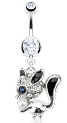 Belly Button Ring   Multi Paved Gem  CZ Eyed Faux Pearl Squirrel  Navel 14g 3/8''