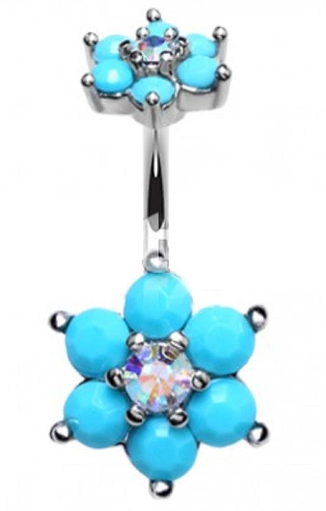 Belly Button Ring Navel Turquoise Spring Flower Sparkle Prong Setting  14g