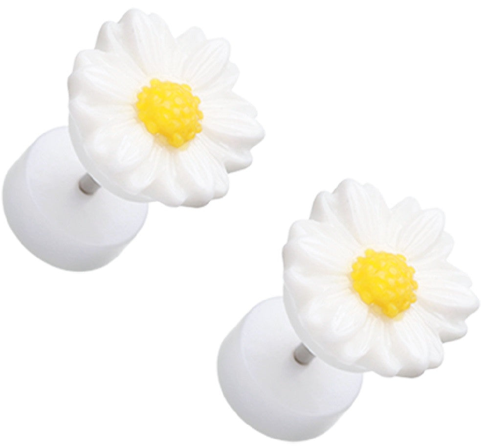 Earrings Rings Cutesy Daisy Flower Acrylic 16g 316L Surgical Steel Fake Plugs Pair