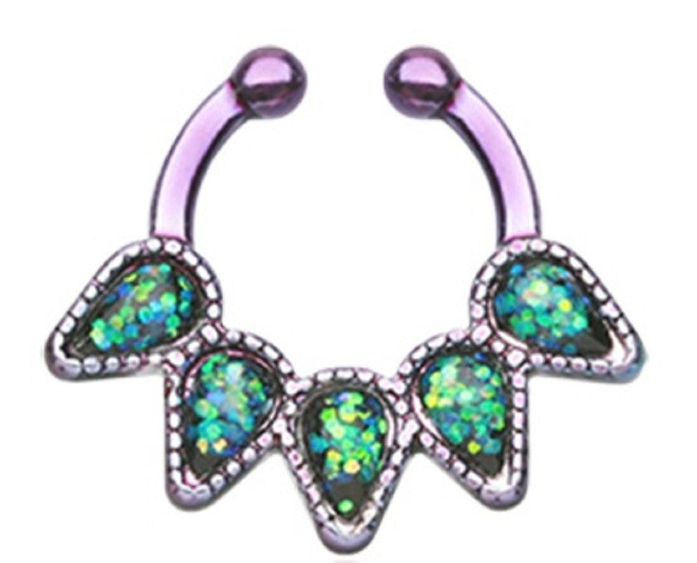 Colorline Opal Quinary Spear Fake Septum Clip-On Nose Ring