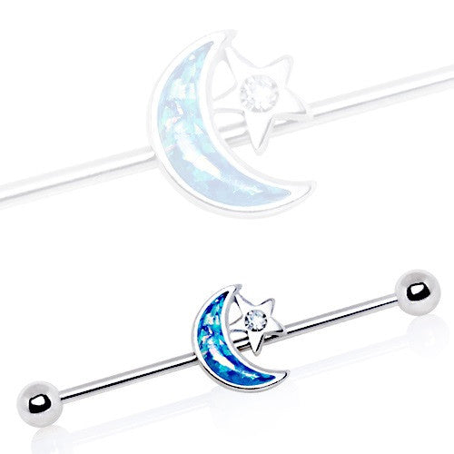 Industrial Barbell 316L Stainless Steel Synthetic Opal Moon and Star1 1/2 14g