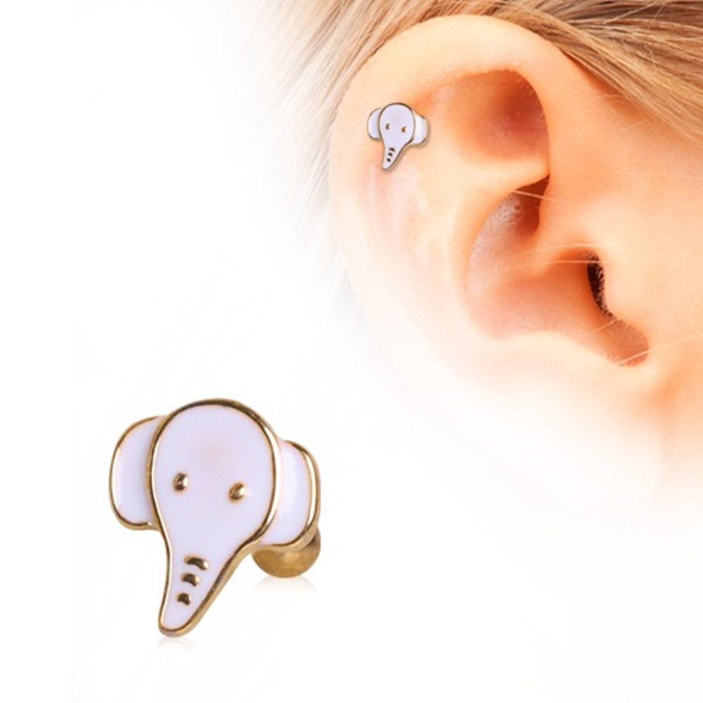 Tragus Threaded Gold plate Elephant Labret   lip chin tragus 16g 1pc