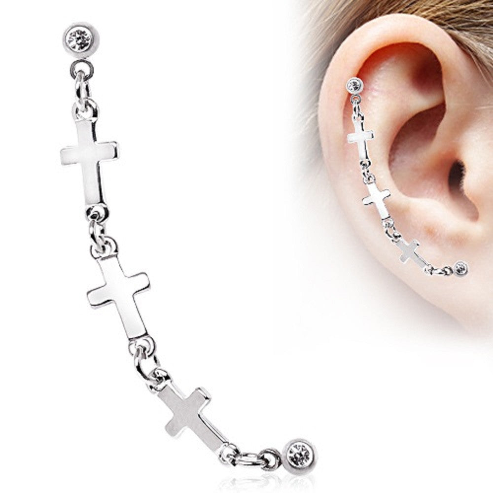 Tragus 316L Surgical Steel Chained Cross Cartilage Earring 16g 1pc