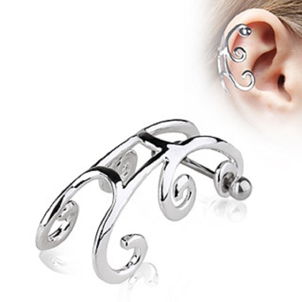 Tragus Sleigh Cartilage Earring with Gem 16g 1pc