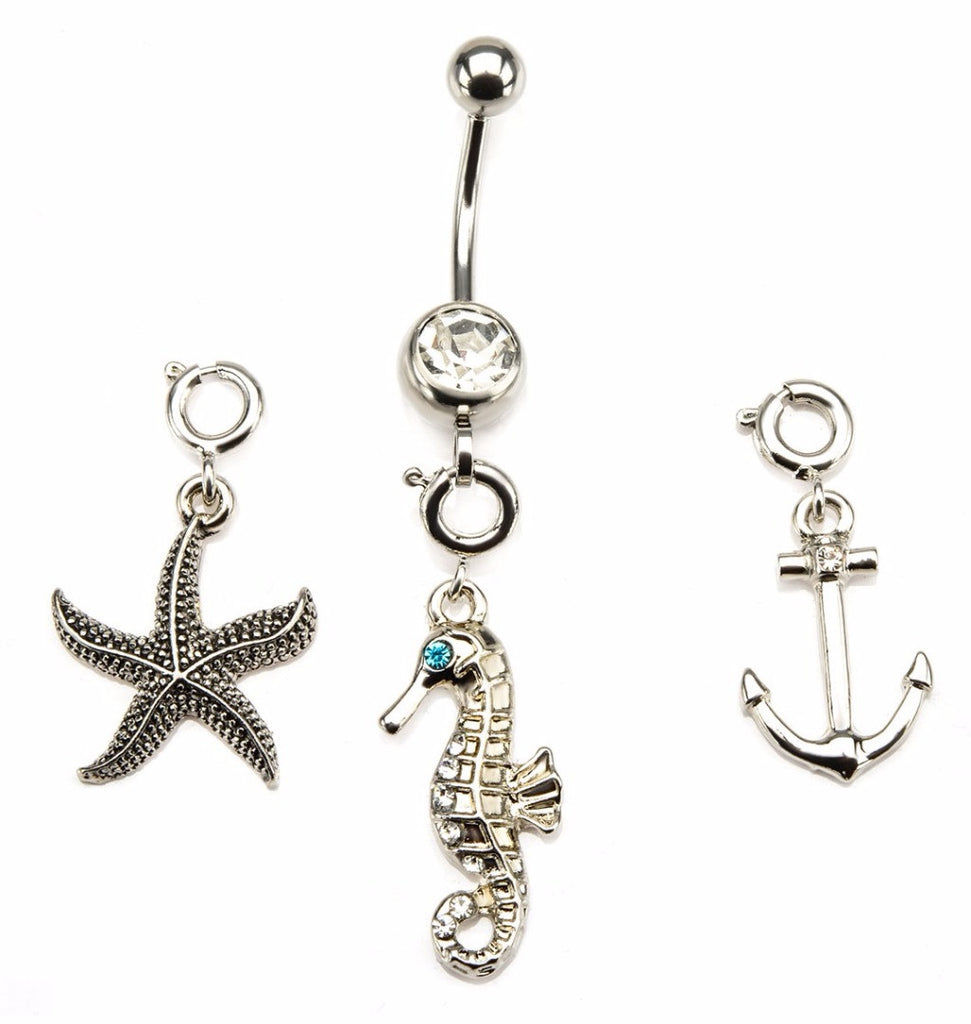 Belly Button Ring Navel 14g 7/16 Navel Starfish, Seahorse Anchor Gem interchangeable