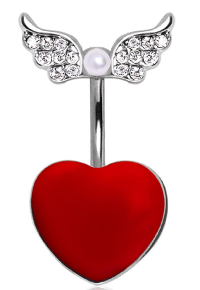 Belly Button Ring Navel 14g Heart Gemmed Angel wings Wings and Pearl