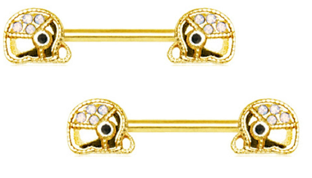 Nipple Ring Shield Gold Plated Jeweled Elephant Bar 14g