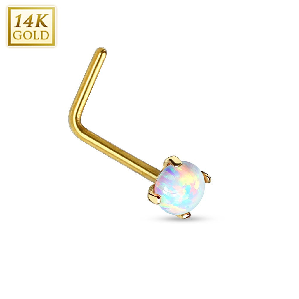 Nose Ring 14Kt. Gold L Bend Nose Ring Prong Setting Faux Opal 20g