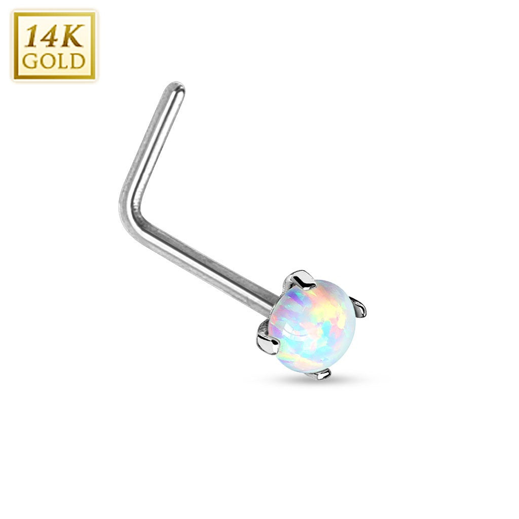 Nose Ring 14Kt. White Gold L Bend Nose Ring Prong Setting Faux Opal 20g