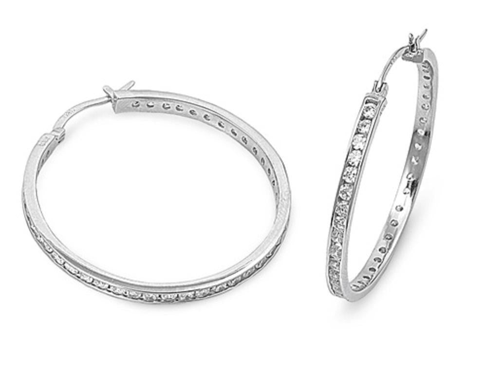 STERLING SILVER CZ HOOP EARRINGS 32mm (1 1/4'') [Jewelry]