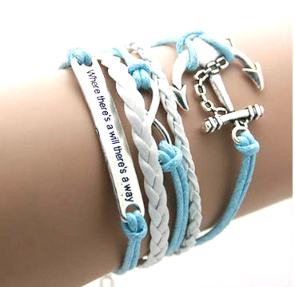 Infinity Bracelet Multi-layer Where there is a will there is a way Anchor