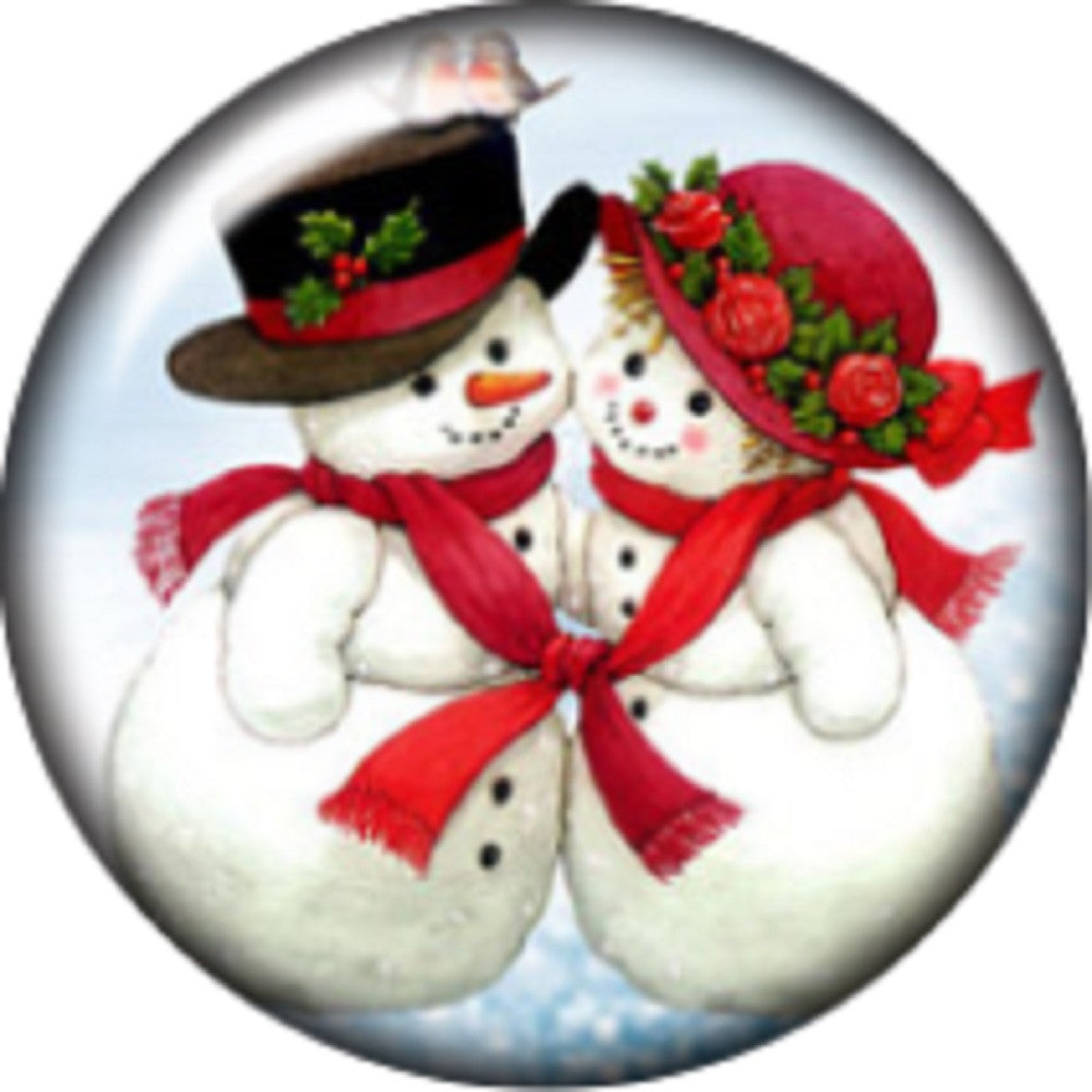 Snap button Happy Holiday Snowman 18mm charm chunk interchangeable