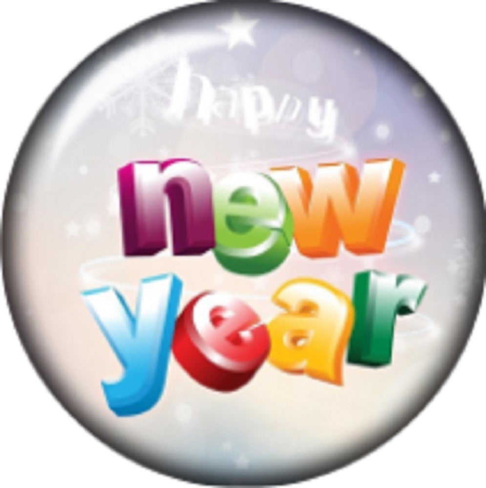Snap button Happy New Year 18mm charm chunk interchangeable