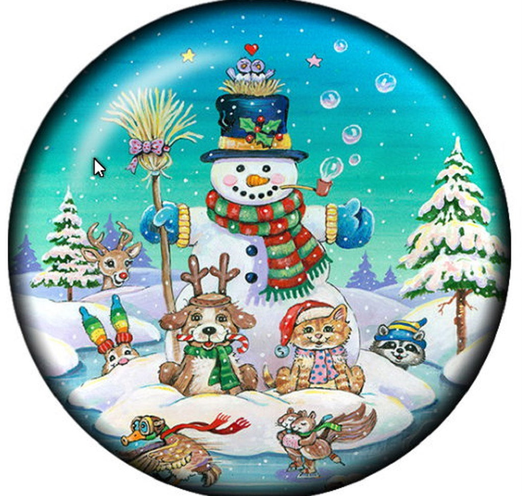 Snap button Snowman Pets Christmas 18mm charm chunk interchangeable
