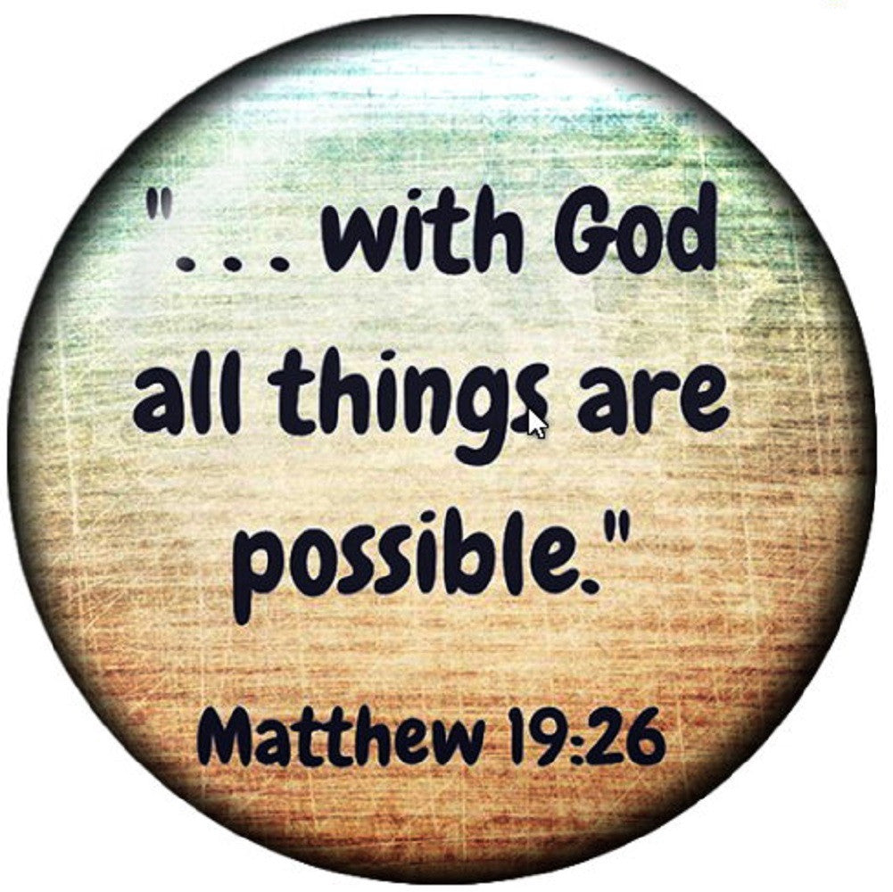 Snap button with God all things are possible18mm charm chunk interchangeable