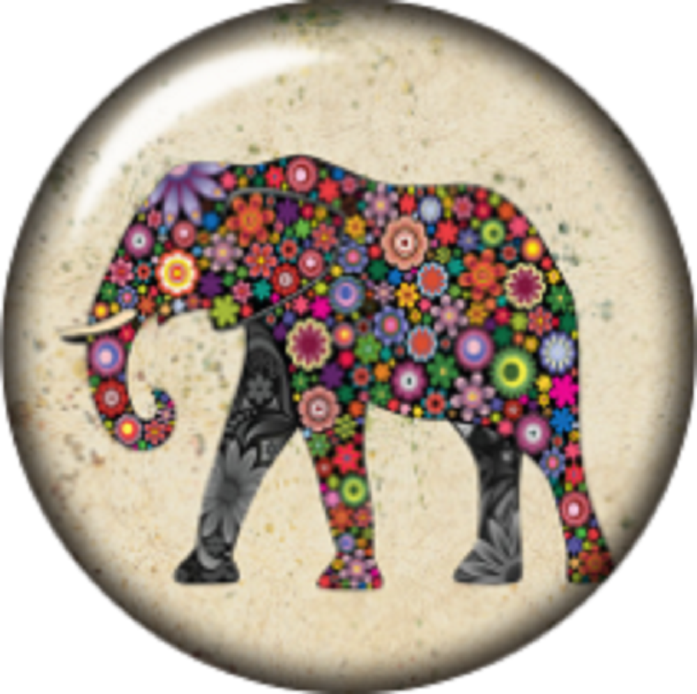 Snap button Patchwork Elephant 18mm charm chunk interchangeable