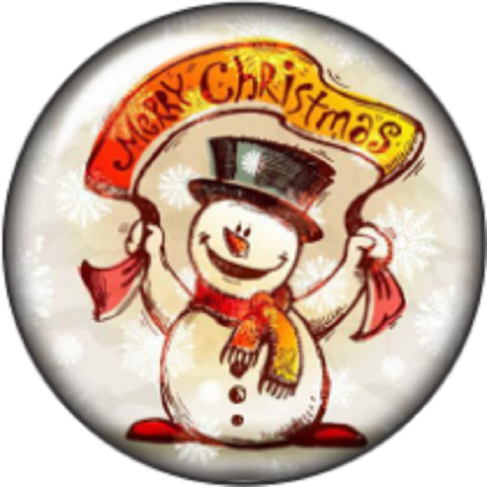 Snap button Snowman Merry Christmas 18mm charm chunk interchangeable