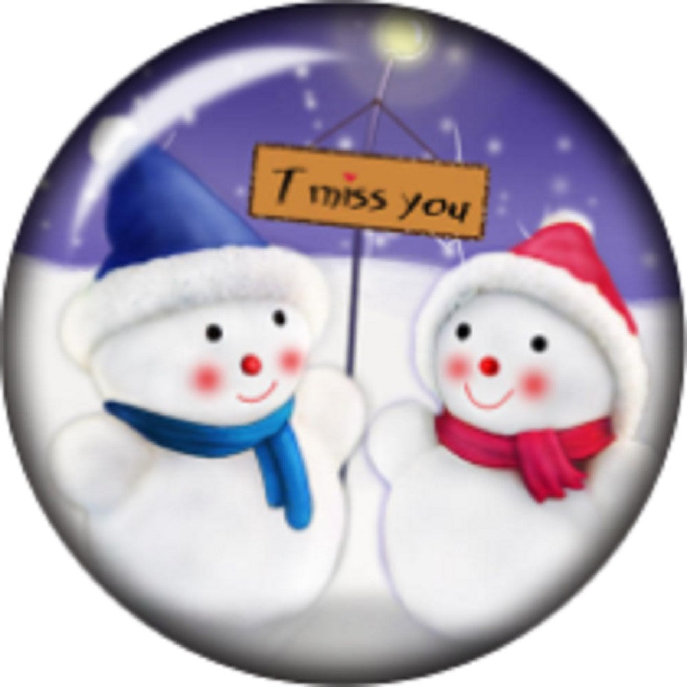 Snap button Snowman Couple I miss you 18mm charm chunk interchangeable