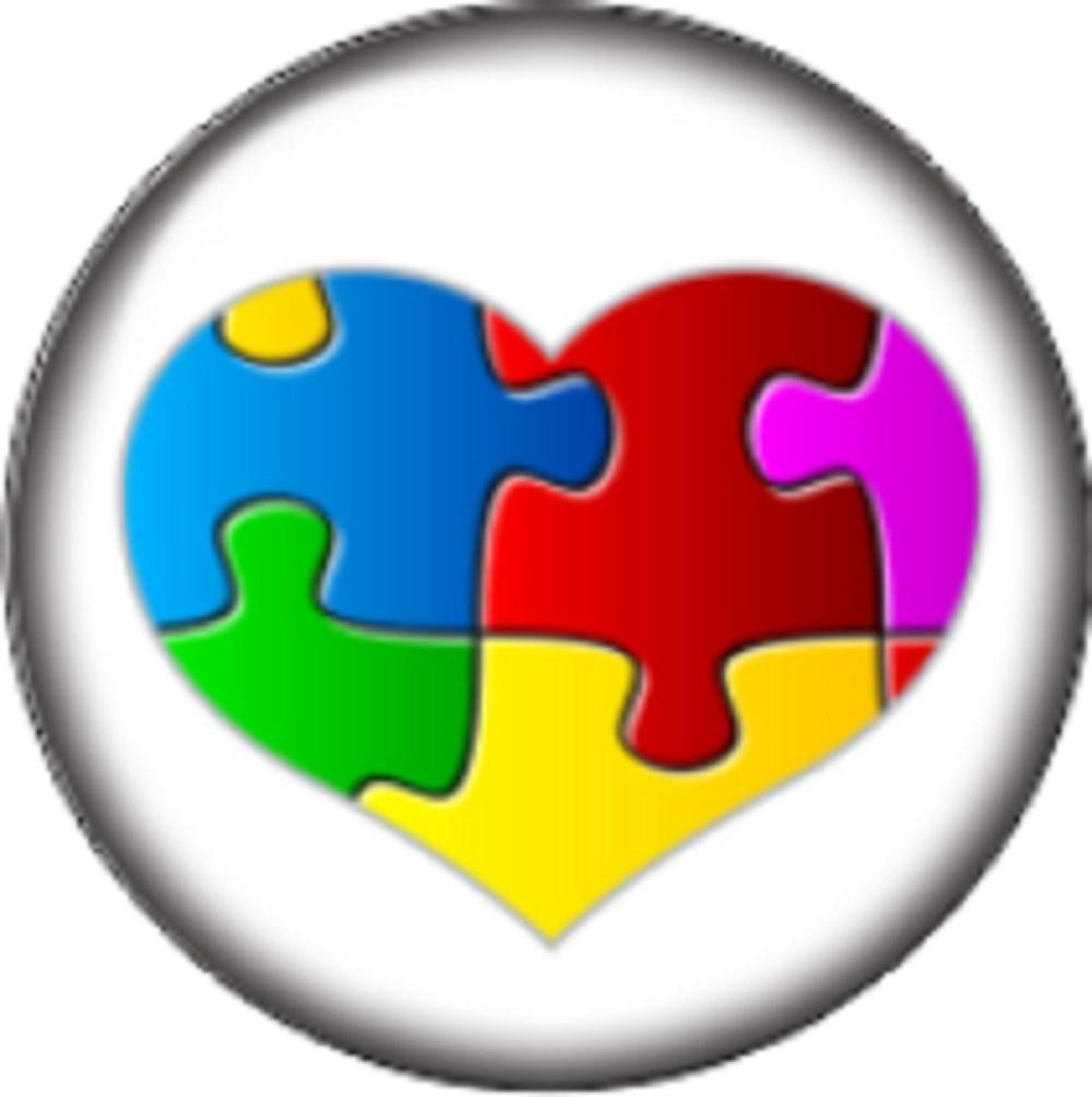Snap button Domed Autism heart puzzle Interchangable Jewelry  12mm