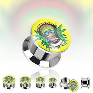 316L Surgical Steel Double Flare Flat Screw Fit Plug with 'Rastafari Blaze'